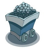 Ore Mine Cart, Vector Illustration. Mine Cart full of Ore, freshly mined from the depths of the darkest Mines, Vector Illustration  on white Background Stock Photo