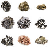 Ore minerals. Isolated on white Stock Photography