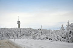 Ore Mountains Klínovec in winter Royalty Free Stock Photos