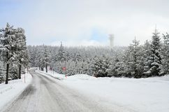 Ore Mountains Klinovec  Czech Republic in winter Royalty Free Stock Photography
