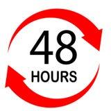 48 ore su fondo bianco Stile piano 48 ore di segno 48 ore fotografia stock libera da diritti