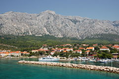 Superb picturesque view on town Orebic on Peljesac Stock Photos