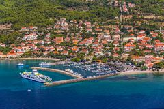 Orebic town in Croatia. Helicopter aerial shoot of tourist destination Orebic on Peljesac peninsula, Croatia stock image
