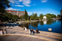 Orebro docks. Docks in Orebro Sweden. Blue sky Royalty Free Stock Images