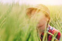 Orecchie d'esame del grano dell'agricoltore femminile nel campo Immagini Stock
