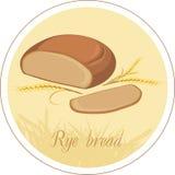 Orecchie del pane e del grano di segale. Etichetta illustrazione vettoriale