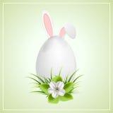 Orecchie dell'uovo di Pasqua e del coniglietto Fotografia Stock