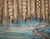 Orecchie dorate della segale del grano sull'alimento del bordo di legno e sul concetto della bevanda Fotografia Stock