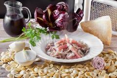 Orecchiette Chicory And Speck Stock Photo