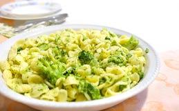 Orecchiette Cime di Rapa Apulia food. Orecchiette Cime di Rapa traditional pasta recipe from Apulia region Italy stock image