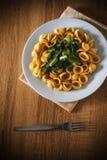 Orecchiette e verdura della pasta su una tavola di legno Immagini Stock Libere da Diritti