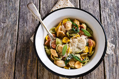 Orecchiette Pasta with garlic and sage royalty free stock photography
