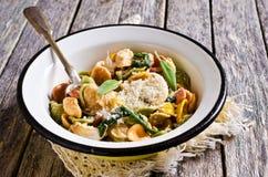 Orecchiette Pasta with garlic and sage Stock Image