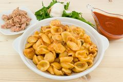 Orecchiette pasta with tuna sauce Royalty Free Stock Photo