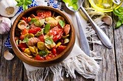 Orecchiette pasta with vegetables Stock Image