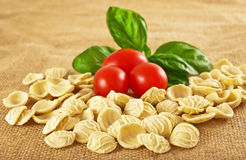 Orecchiette tomatoes and basil Stock Images