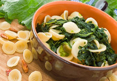 Orecchiette with turnip tops. Royalty Free Stock Photography