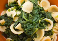 Orecchiette with turnip tops. Royalty Free Stock Photos