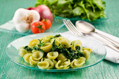 Orecchiette with Turnip tops Stock Image