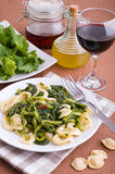 Orecchiette with turnip tops. Stock Images
