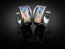 Orecchini con i cristalli - acciaio inossidabile Immagini Stock Libere da Diritti