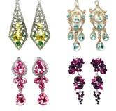 Orecchini con i gioielli luminosi dei cristalli Fotografia Stock Libera da Diritti