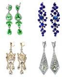 Orecchini con i gioielli luminosi dei cristalli Immagini Stock Libere da Diritti