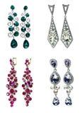 Orecchini con i gioielli luminosi dei cristalli Fotografie Stock