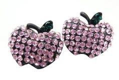 Orecchini dei gioielli con i cristalli luminosi Fotografia Stock Libera da Diritti