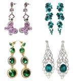 Orecchini dei gioielli con i cristalli luminosi Immagini Stock Libere da Diritti