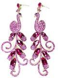 Orecchini dei gioielli con i cristalli luminosi Fotografie Stock Libere da Diritti