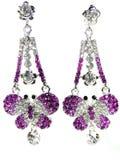 Orecchini dei gioielli con i cristalli luminosi Immagine Stock Libera da Diritti