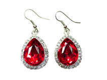Orecchini dei gioielli con i cristalli luminosi Fotografie Stock