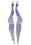 Orecchini dei gioielli con i cristalli luminosi Fotografia Stock