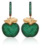 Orecchini dell'oro con le gemme verdi Immagini Stock