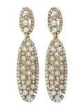 Orecchini della perla con i gioielli luminosi dei cristalli Fotografia Stock