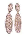 Orecchini della perla con i gioielli luminosi dei cristalli Fotografie Stock