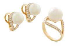 Orecchini ed anello del diamante Fotografia Stock
