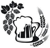 Orecchio del grano e della birra Fotografia Stock Libera da Diritti