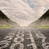 Orecchio 2017 dipinto sulla strada asfaltata Fotografia Stock