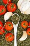 Oregano, garlic and red cherry tomato Royalty Free Stock Image