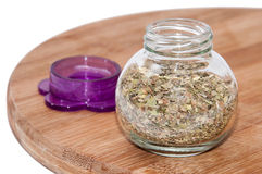 Oregano in a glass bowl Royalty Free Stock Image