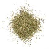 Oregano herb. Dried oregano, shot from above, on white background Royalty Free Stock Image