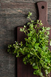 Oregano on the kitchen board on the old dark table vertical Stock Photos