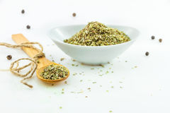 The Oregano spices front view on white background. Stock Images