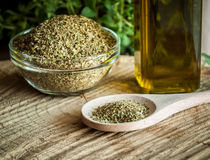 Oregano spices and olive oil Royalty Free Stock Photo