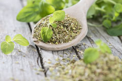 Oregano on a wooden spoon Royalty Free Stock Photography