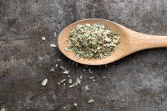 Oregano on a wooden spoon Royalty Free Stock Images