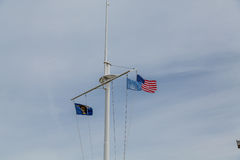 Oregon and American Flags on Mast Stock Image