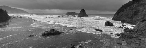 Oregon Bay Panorama. Black and white panorama of ocean bay along the southern Oregon Coast Royalty Free Stock Image